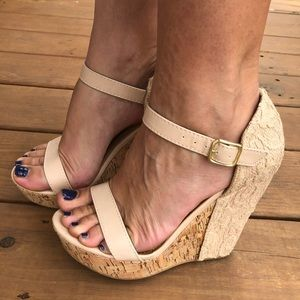 Not Rated Nude Lace Wedges